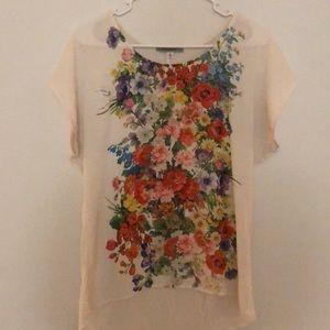 Pleione Short Sleeve Flowy Floral Top